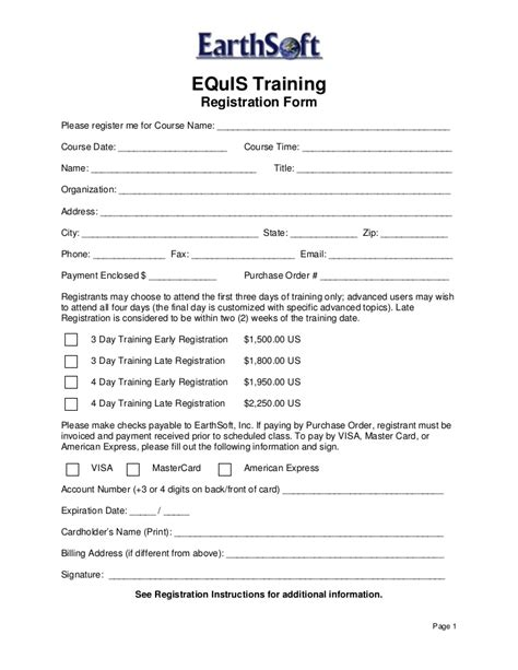 Equis 5 Open Training Registration Form 2009 Program Registration Form Template