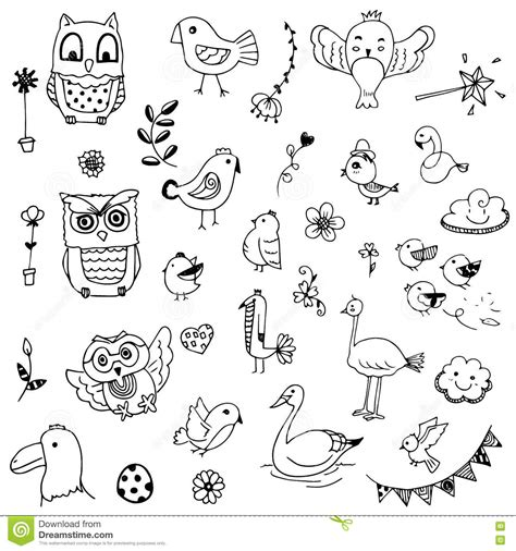 alfred doodle vector free birds and flower doodle drawing vector set stock vector
