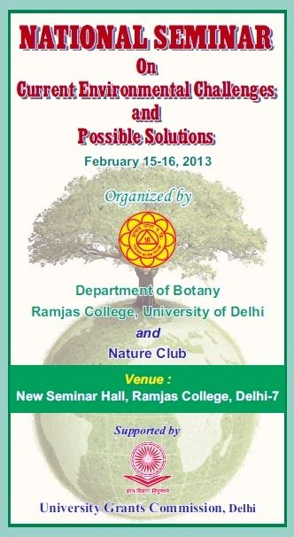 challenges and possible solutions national seminar on current environmental challenges and