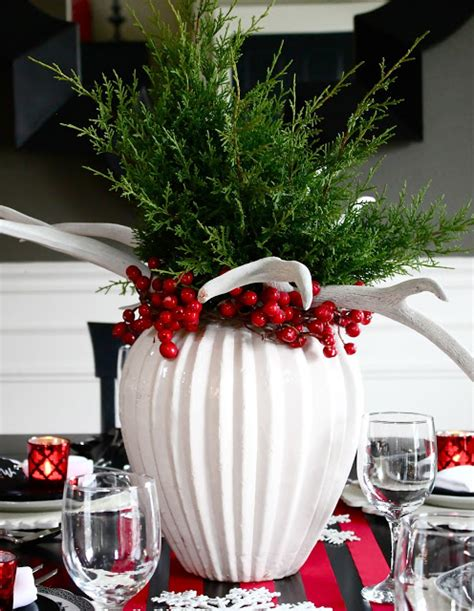 the yellow cape cod antler evergreen holiday centerpiece