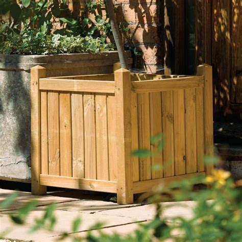 large wooden square garden planter westmount living