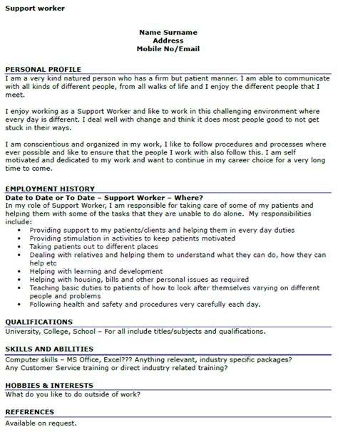 Support Worker Cover Letter No Experience Support Worker Cv Exle Icover Org Uk
