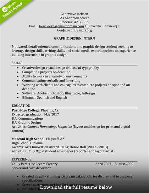 Resume With No Job Experience by How To Write A Perfect Internship Resume Examples Included