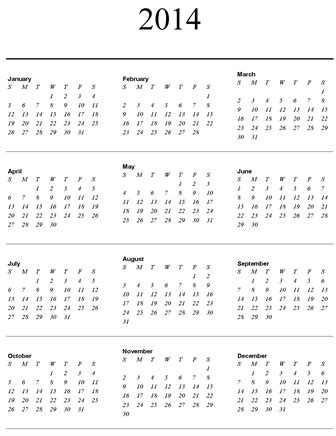 year long calendar on one page | calendar template 2018