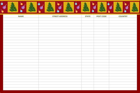 printable christmas card list template 5 best images of printable list christmas card templates