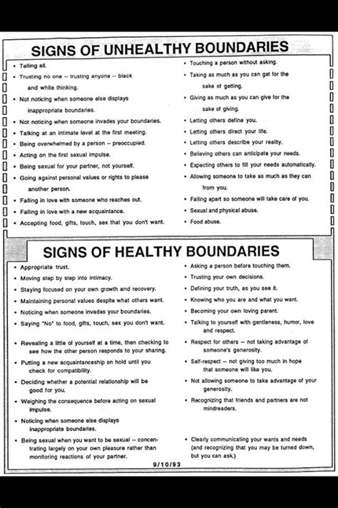 Signs Of A Healthy Relationship by Signs Of Healthy And Unhealthy Boundaries Personality