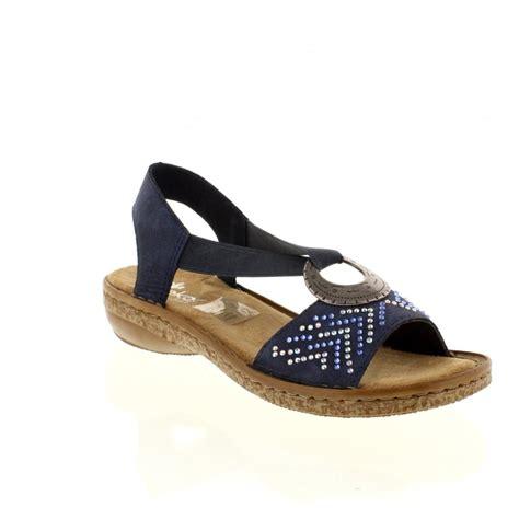 reiker sandals rieker 62802 14 blue slip on sandals rieker