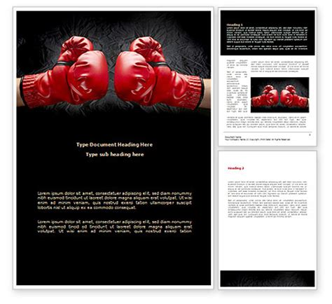 Red Boxing Gloves Word Template 08680 Poweredtemplate Com Boxing Templates Free