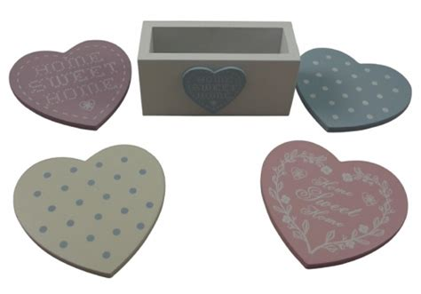 shabby chic pastel heart coasters with stand