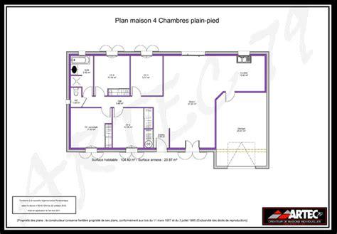 maison plein pied 4 chambres plan de maison plain pied 100m2 10 plan de maison plein