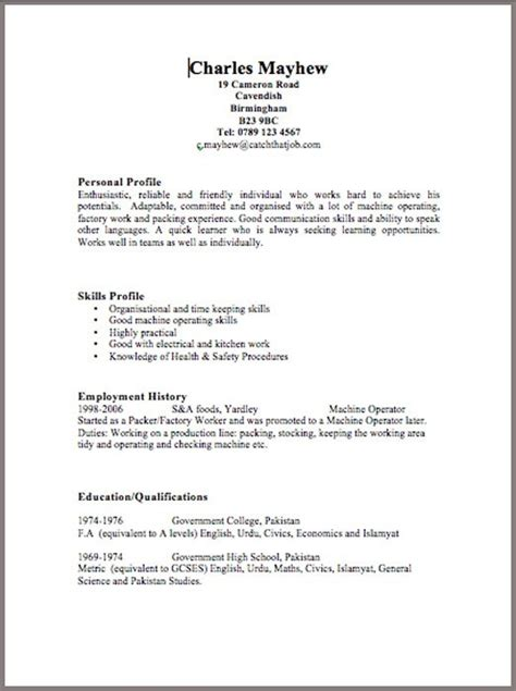 Basic Resume Sle Format by Format Basic Resume Outline Template Jennywashere