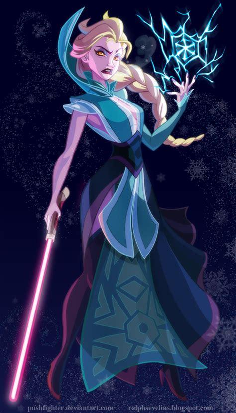 star wars 7 elsa a succomb la force de ses pouvoirs disney princesses as star wars characters by ralph