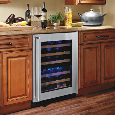 Wine Cooler Kitchen Cabinet Cabinet Oak Kitchen Cabinets With Edgestar Wine Cooler And Laminate Wood Flooring For