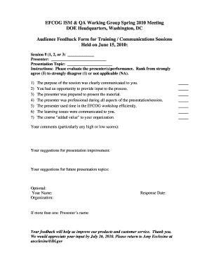 fillable online efcog audience feedback form for training