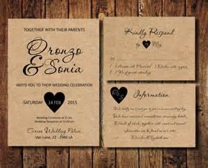 country wedding invitation kits items similar to wedding ceremony invitation kit rustic kraft wedding invite rsvp card