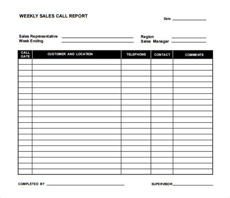 sales report template sle sales call report template 6 documents in pdf