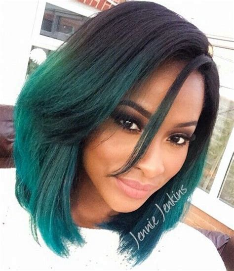 turcquoise short hair styles jennie jenkins black hair turquoise green ombre hairstyle