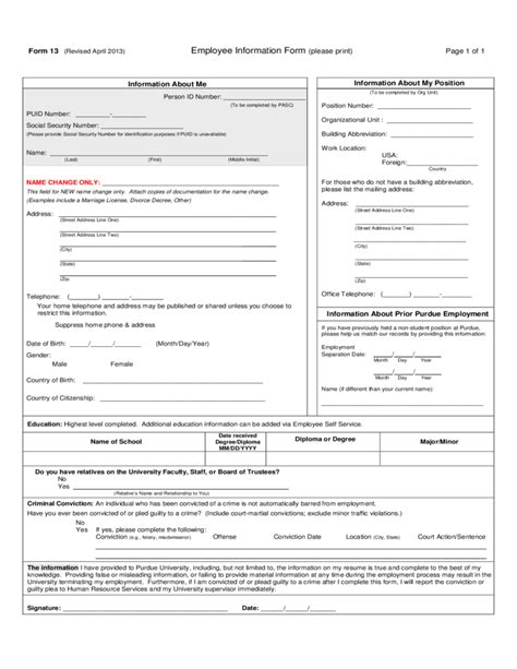 Employees Information Sheet Employee Information Form Free