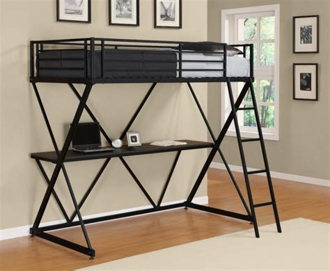 Loft Bunk Bed With Desk Underneath Black Metal Loft Bed With Desk Underneath Whyrll
