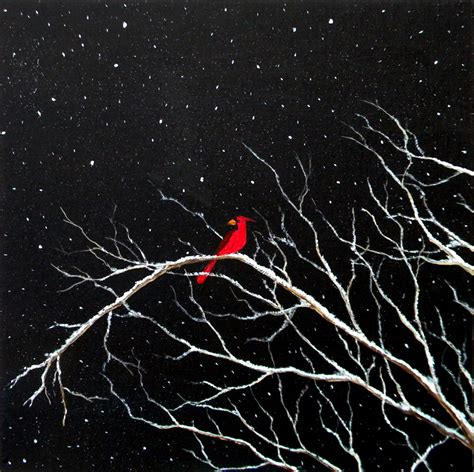 black background painting cardinal in snow by blablover5 on deviantart