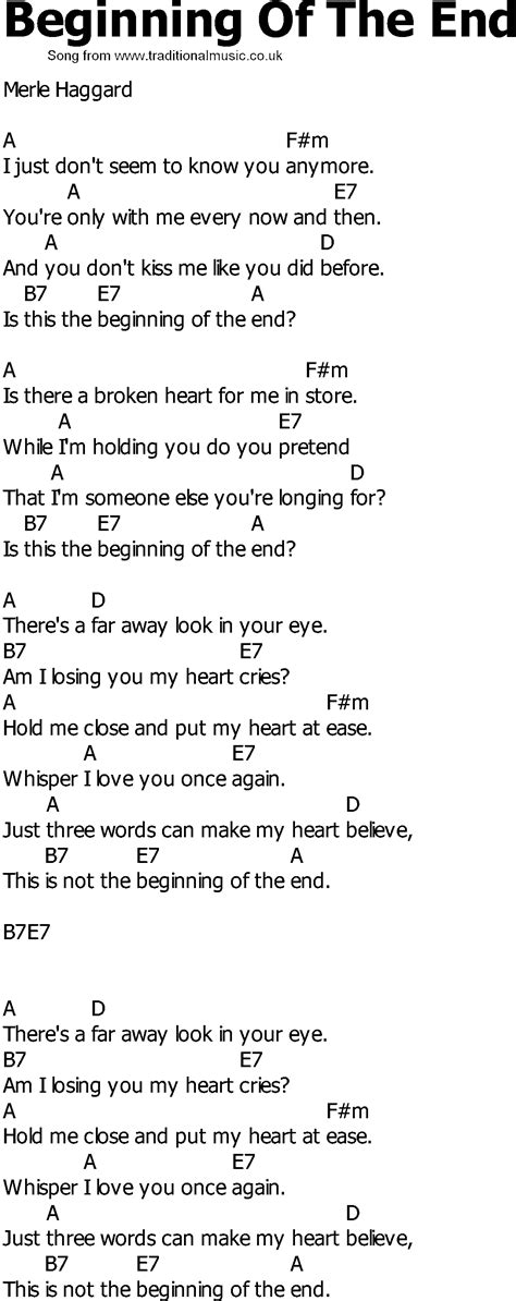 strumming pattern love you till the end old country song lyrics with chords beginning of the end