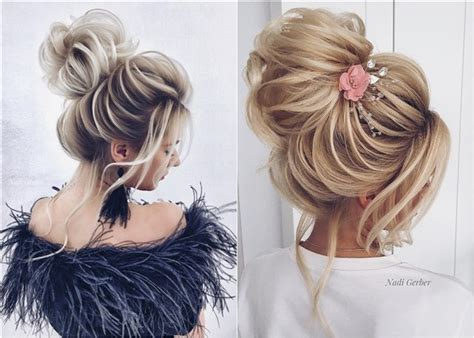 top 20 high bun wedding updo hairstyles deer pearl flowers part 2
