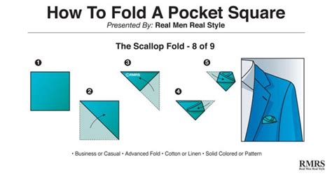 Scallop Fold how to fold a pocket square 9 ways of folding a handkerchief