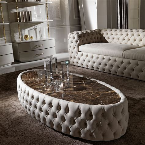 Oval Upholstered Coffee Table Modern Button Upholstered Nubuck Leather Oval Coffee Table