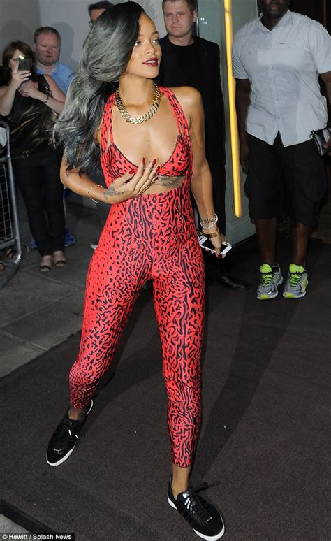leopard tattoo full body rihanna looks purrrfect as she shows off her figure in
