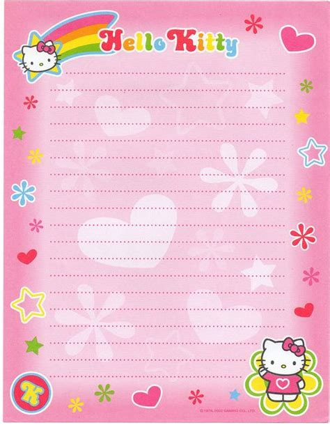 printable hello kitty notebook paper 1000 images about sobres y papel on pinterest writing