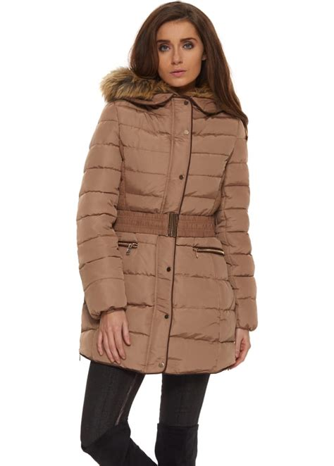 Designer Quilted Coats by Taupe Faux Fur Hooded Belted Quilted Coat