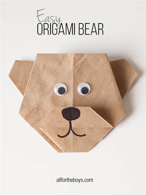 Easy Origami For Boys - easy origami disneynature s bears printables all