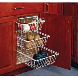 3 tier pull out vegetable baskets for kitchen base cabinet by knape vogt cabinet accessories