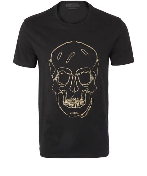 Alexandra T Shirt 1 mcqueen black zip skull print cotton tshirt in