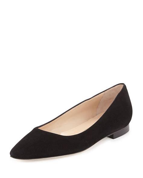 manolo blahnik flat shoes manolo blahnik bb suede ballerina flat in black lyst