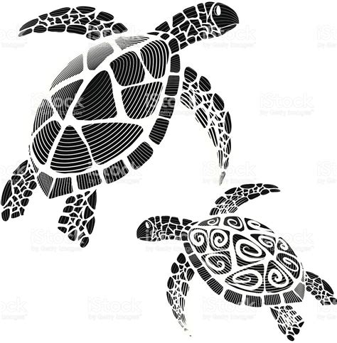 hawksbill sea turtle silhouettes swirl tribal stock vector