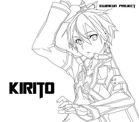 digital art coloring page line art kirigaya kazuto kirito sword art online by