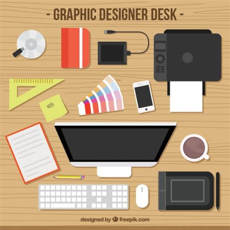 graphic designer desk vector premium