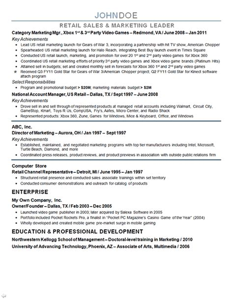 exle of a marketing resume marketing director resume exle