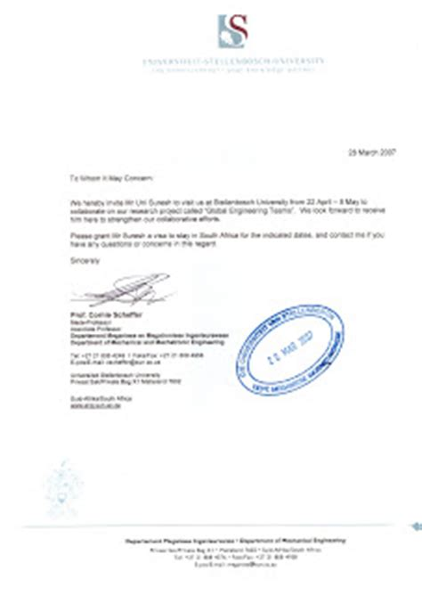 Letter Of Invitation To Research Unni Suresh My Projects And Achievements Member Of Get Global Engineering Team Germany