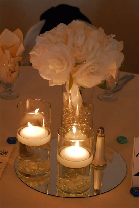 Floating Candle and Flower Centerpiece   Centerpieces