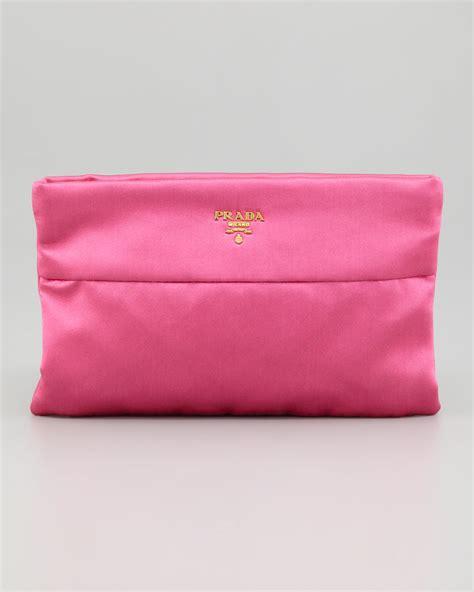 Clutch Satin Pink lyst prada satin clutch bag in pink