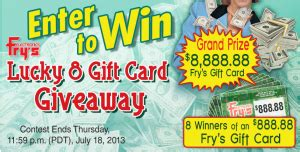 Fry S Electronics Gift Card - fry s electronics inc fry s lucky 8 gift card facebook sweepstakes win an 8 888