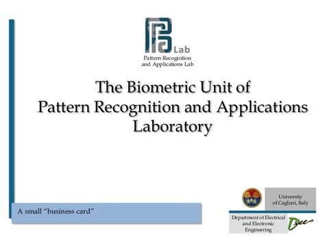 pattern recognition lab manual the biometric unit of pra lab university of cagliari