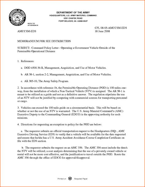 memorandum template dod 4500 36 r management acquisition and use of motor