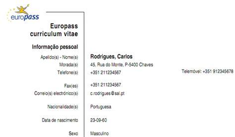 Modelo Curriculum Vitae Europeu Em Portugues Curriculum Vitae Europeo Doc Quotes