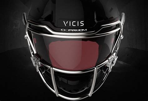new football helmet design vicis oakley prizm lens lechnology applied to edge shield visor