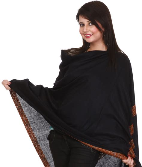Pashmina Black plain black pashmina shawl from kashmir with embroidered meenakari border