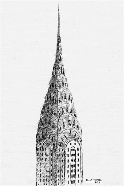 Chrysler Building Drawing by Chrysler Building Drawing By Al Intindola