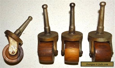 matching set   antique furniture casters  wood wheels